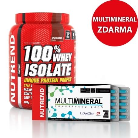 100% ISOLATE, 900g čokoláda + MULTIMINERAL COMPRESSED CAPS, 60 caps ZDARMA