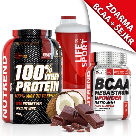 100% WHEY PROTEIN 2250 g č. kokos + BCAA MEGA STRONG POWDER 500 g cherry + šejkr