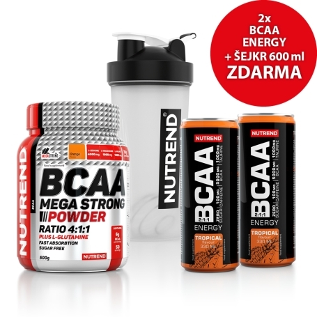 BCAA MEGA STRONG POWDER, 500 g, pomeranč + ŠEJKR + 2x BCAA ENERGY, 330 ml, tropical ZDARMA