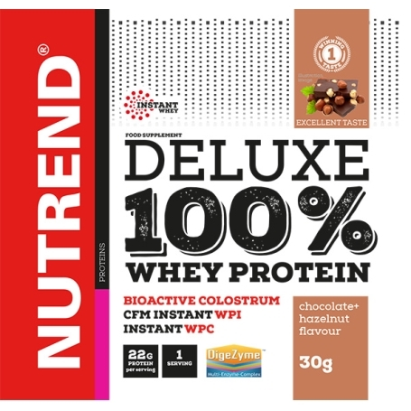 DELUXE 100% WHEY, 20x30 g, čokoláda+lískový ořech