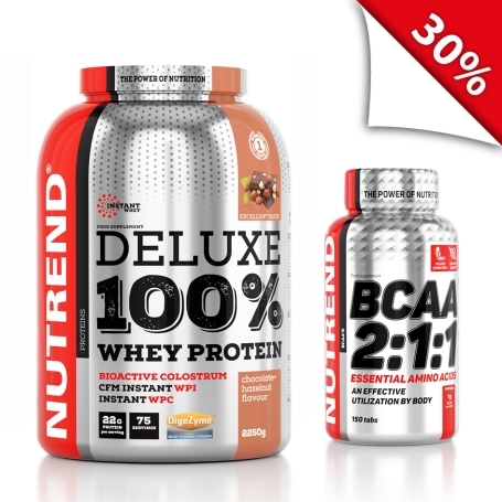 DELUXE 100% WHEY 2250g čoko-ořech + BCAA 150 tbl.