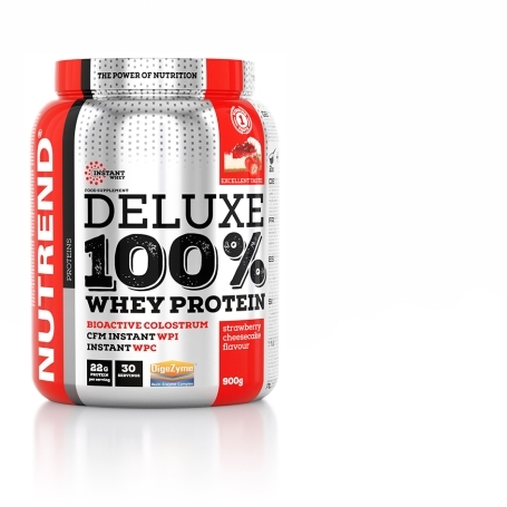 DELUXE 100% WHEY, 900 g, jahodový cheesecake