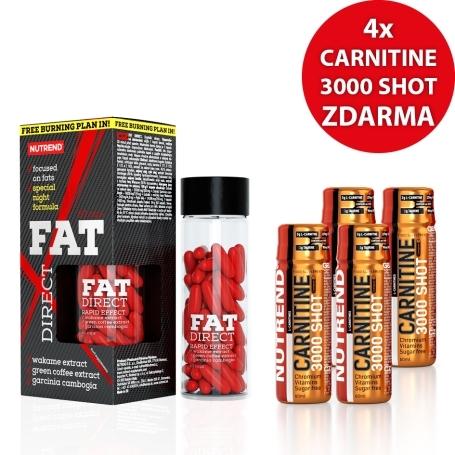 FAT DIRECT, 60 kapslí + 4x CARNITINE 3000 SHOT, 60 ml, jahoda ZDARMA
