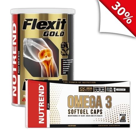 FLEXIT GOLD DRINK 400 g hruška + OMEGA 3 SOFTGEL CAPS 120 kapslí
