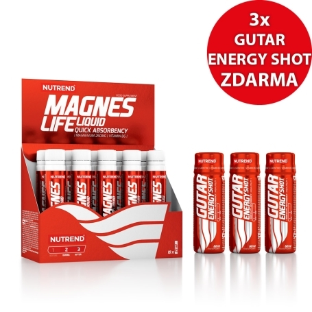 MAGNESLIFE, 10x25 ml + 3x GUTAR ENERGY SHOT, 60 ml ZDARMA