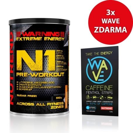 N1, 510 g, červený pomeranč + 3x WAVE CAFFEINE MENTOL STRIPS, 1400 mg